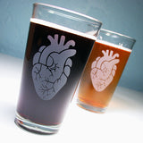 anatomical heart pint glasses