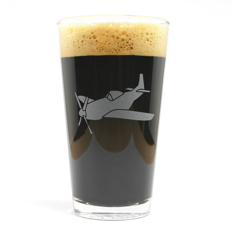 Airplane etched pint glass
