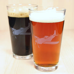 sandblasted airplane pint glasses for dad