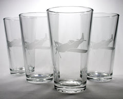 Airplane pint glass set of 4
