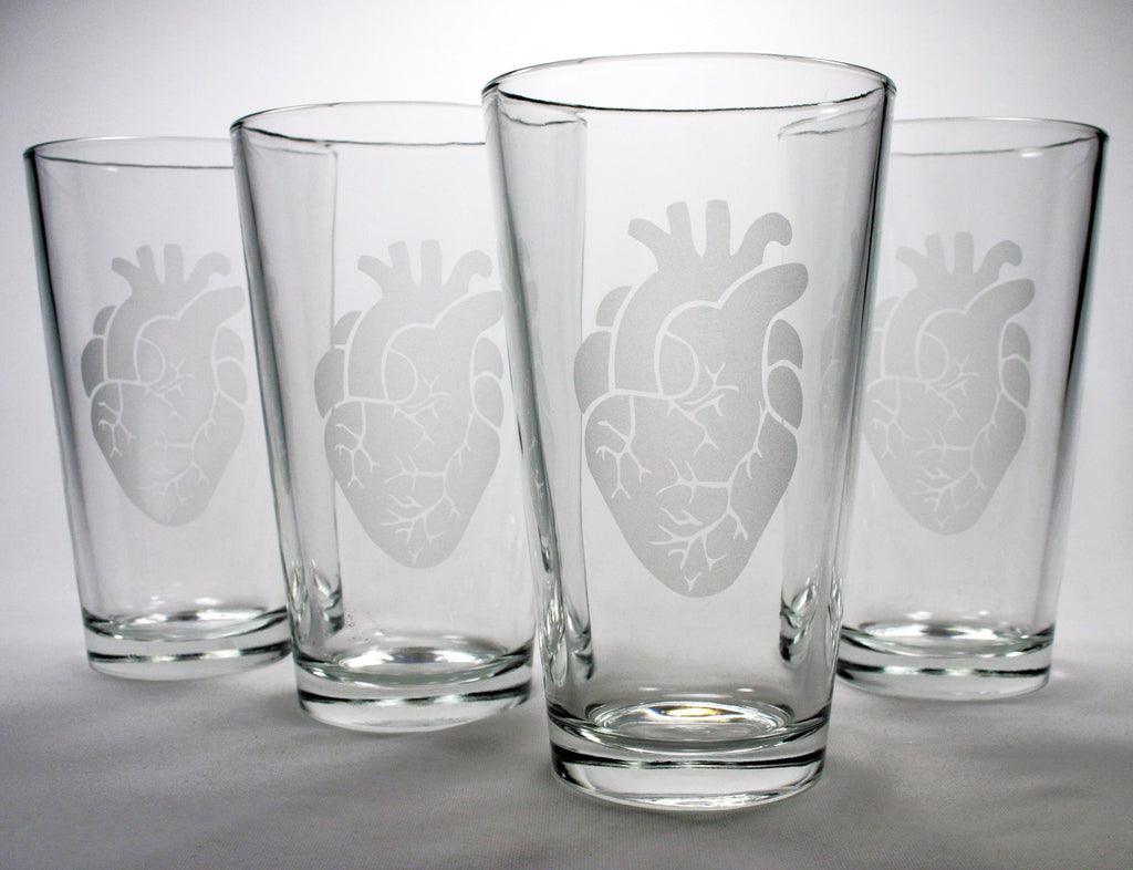 anatomical heart pint glasses set of 4