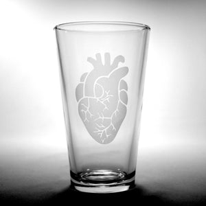 anatomical heart etched pint glass
