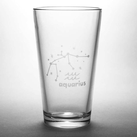 Aquarius zodiac constellation pint glass by Bread and Badger