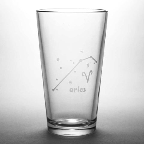 Aries zodiac constellation pint glass by Bread and Badger