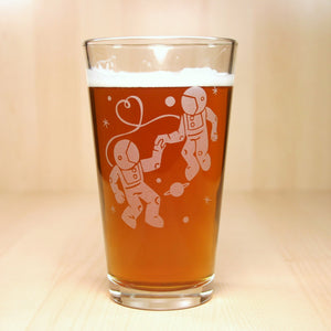 Astronaut Love etched space pint glasses