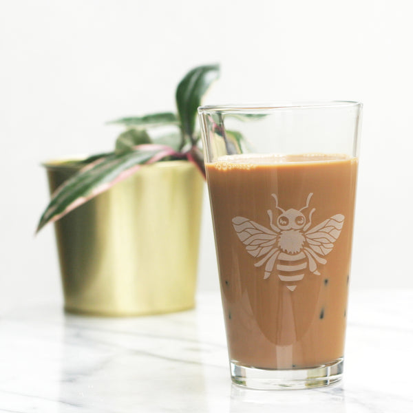 Honey Bee etched pint glass by Bread and Badger