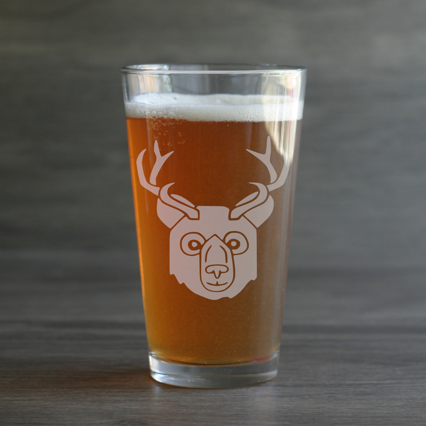 BEER Bear with Deer Antlers Pint Glass