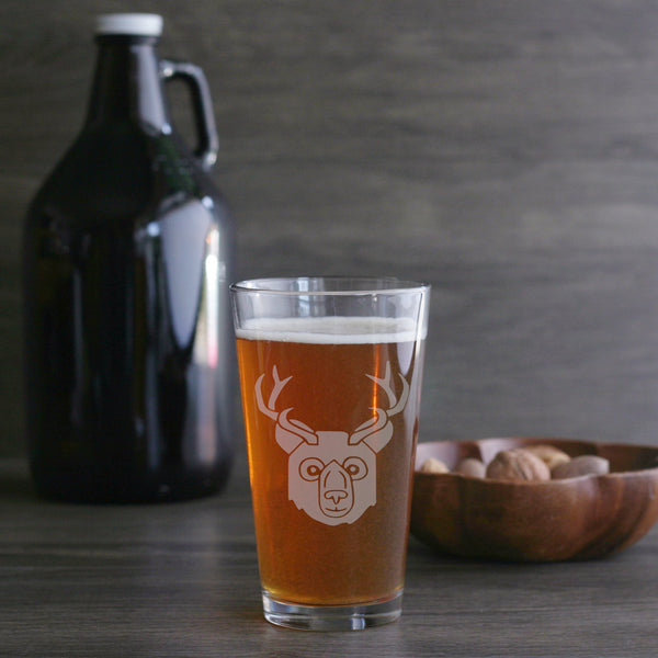 Bear with Deer Antlers Beer Glass