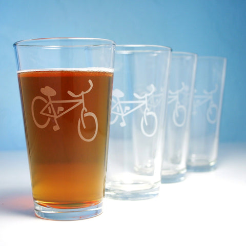 4 Bike pint glasses