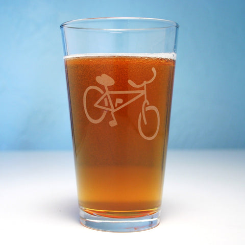 bike etched beer glass