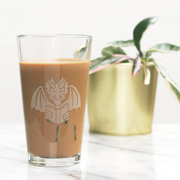 Book Dragon pint glass by Bread and Badger