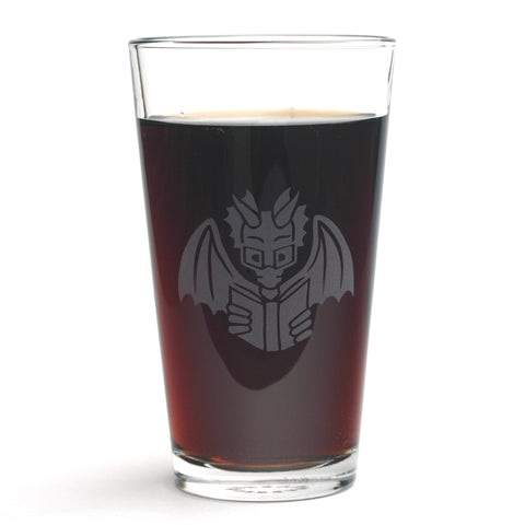 Book Dragon etched pint glass by Bread and Badger