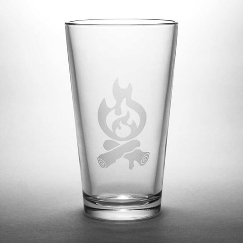 campfire etched beer glass by Bread and Badger