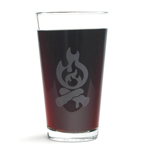 Campfire etched pint glass by Bread and Badger