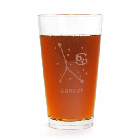 Cancer zodiac pint glass by Bread and Badger