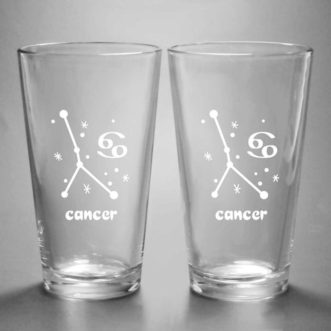 Cancer constellation pint glasses by Bread and Badger