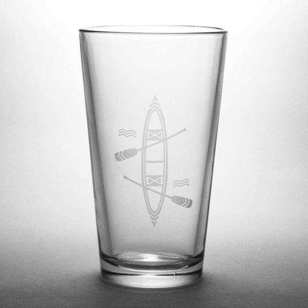 Canoe etched pint glass by Bread and Badger