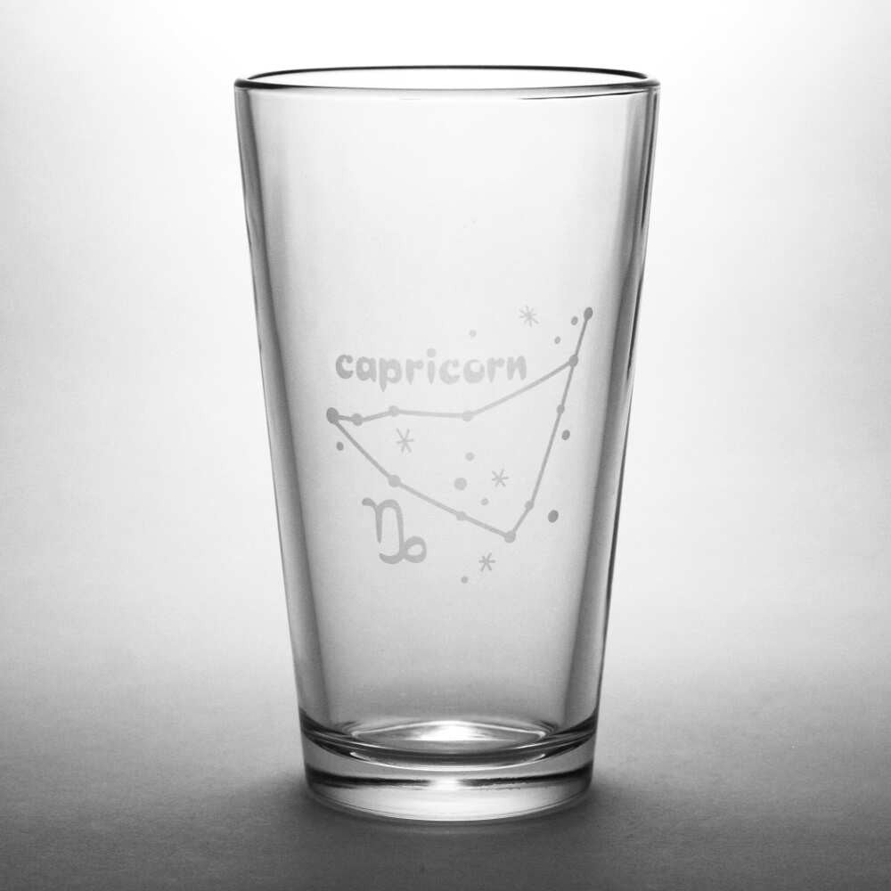 Capricorn constellation pint glass by Bread and Badger