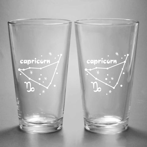Capricorn constellation pint glasses by Bread and Badger