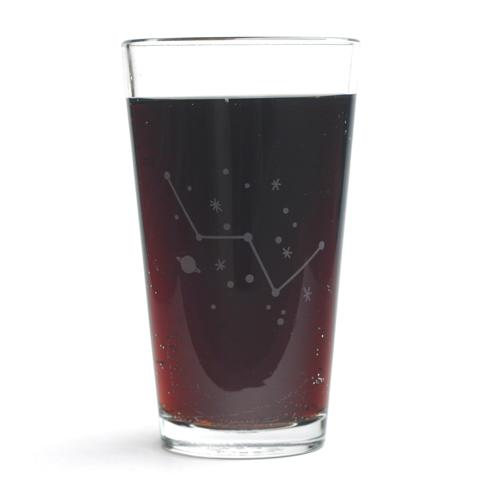 Cassiopeia etched pint glass by Bread and Badger