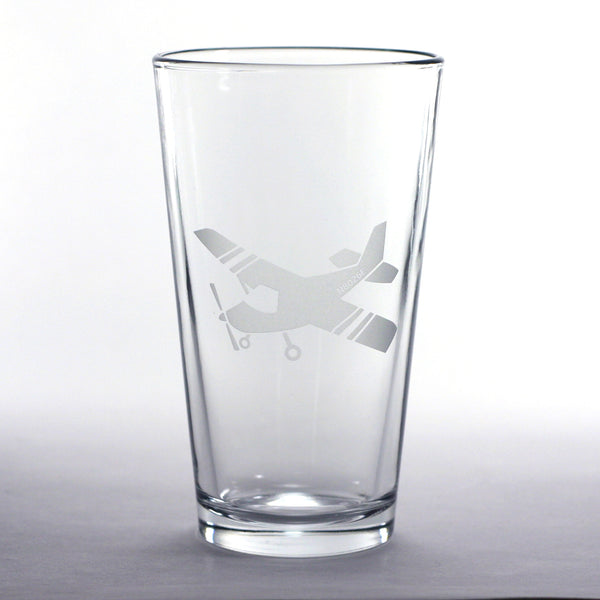 custom Cessna airplane pint glasses by Bread and Badger