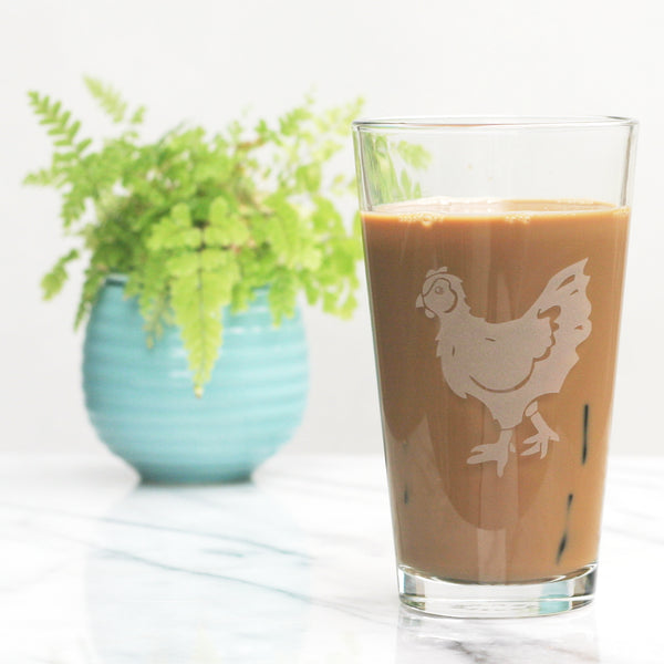 Chicken pint glass by Bread and Badger