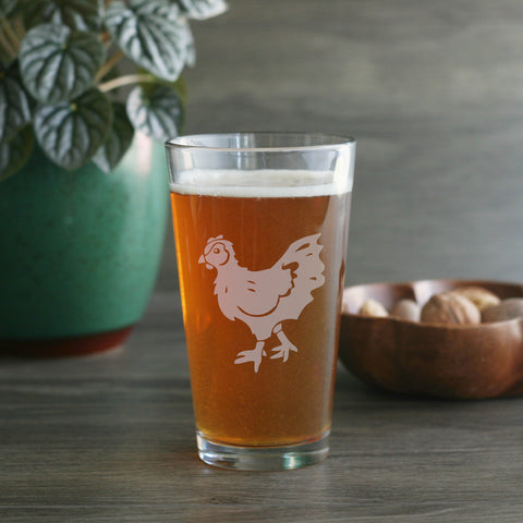 Chicken pint beer glass by Bread and Badger