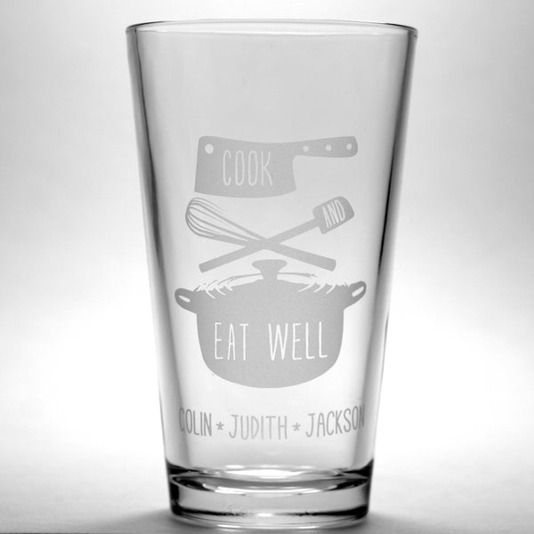 personalized pint glasses by Bread and Badger