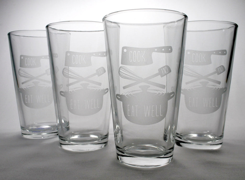 gourmet cook and eat well pint glass set of 4
