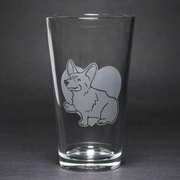 Corgi dog pint glass by Bread and Badger