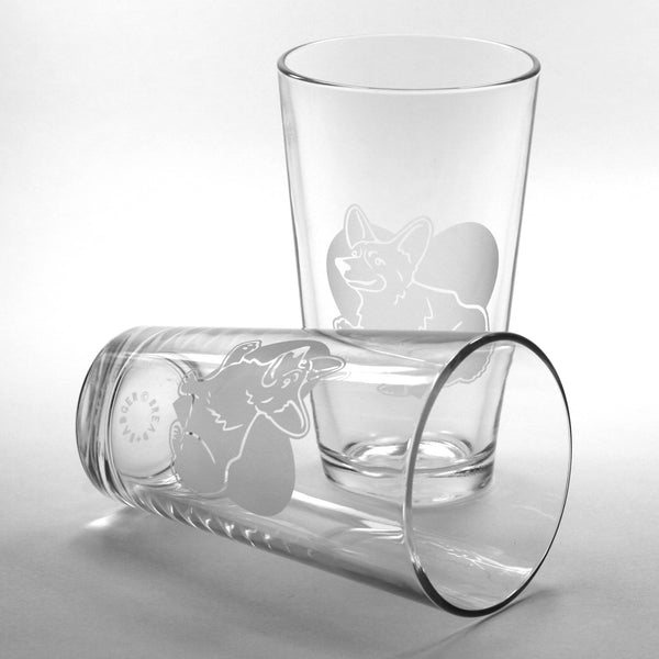 Corgi beer glasses by Bread and Badger
