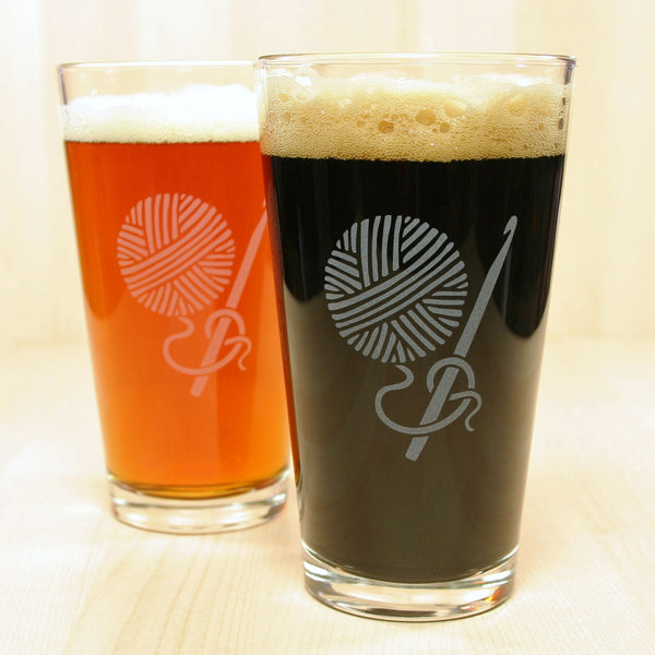 2 Etched Crochet pint glasses