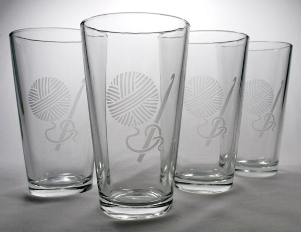 4 crochet craft pint glasses