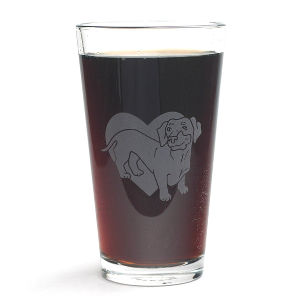 Dachshund dog pint glass by Bread and Badger
