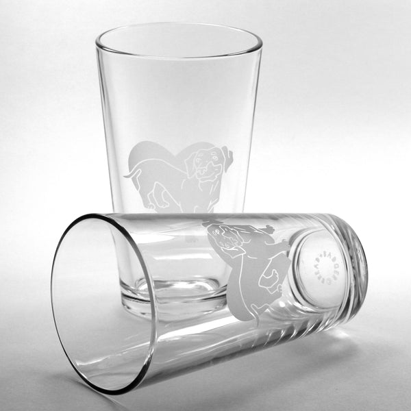 Wiener dog etched pint glasses by Bread and Badger