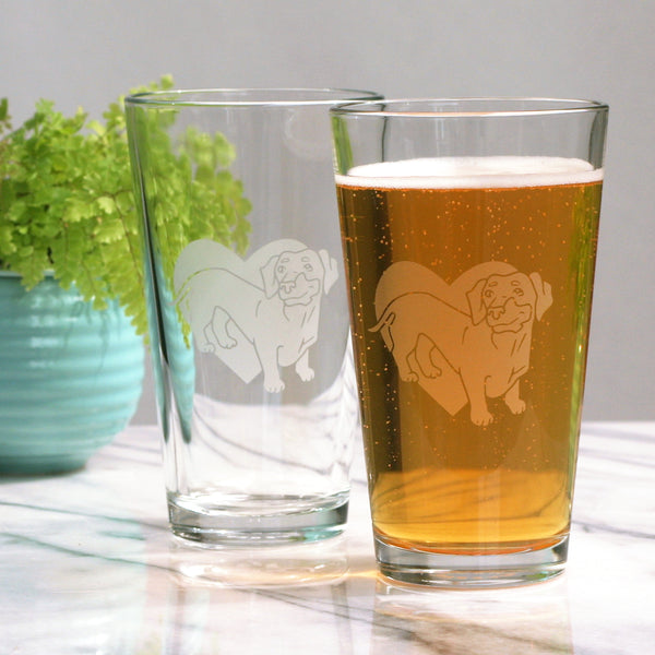 Dachshund pint glasses by Bread and Badger