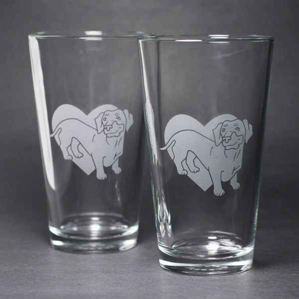 Dachshund dog pint glasses by Bread and Badger