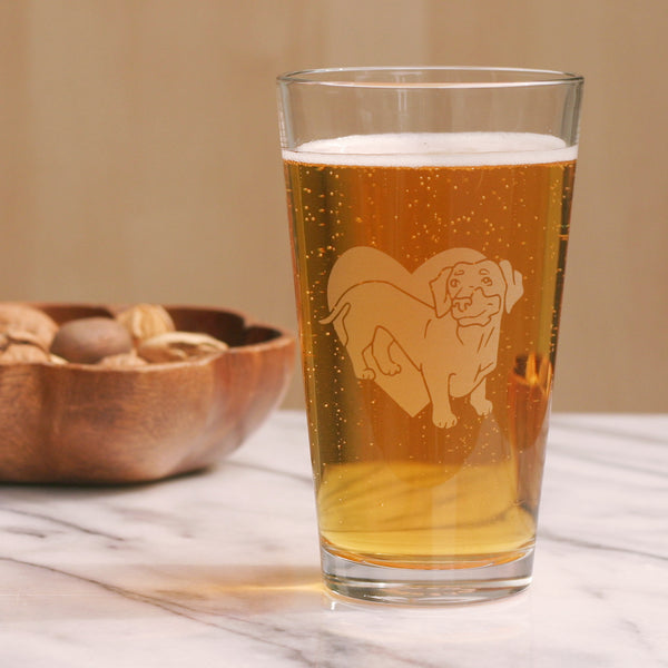 Dachshund pint glass by Bread and Badger