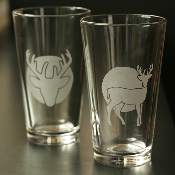 Stag deer pint glasses by Bread and Badger