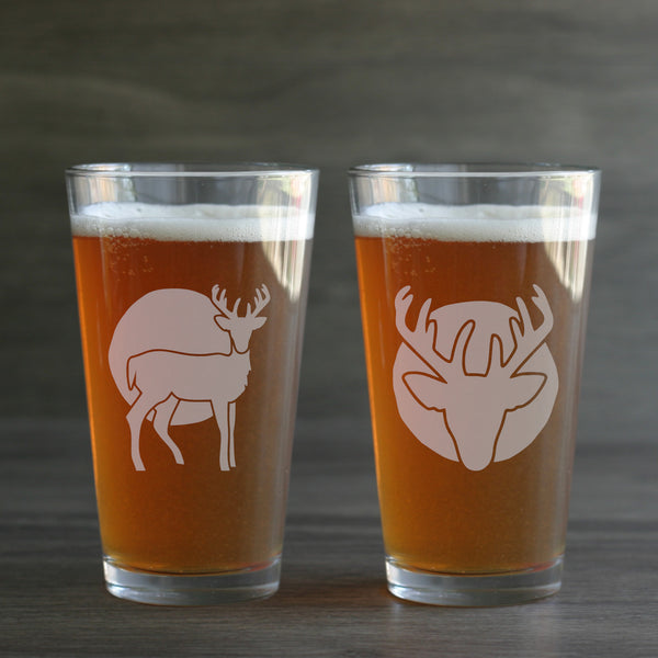 Deer etched pint glasses