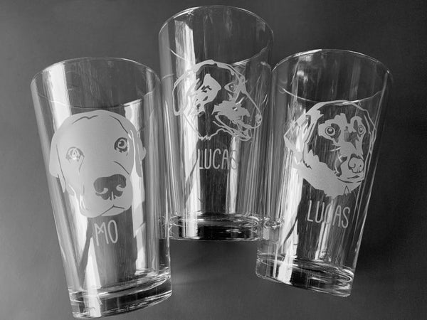 custom etched dog portrait pint glasses