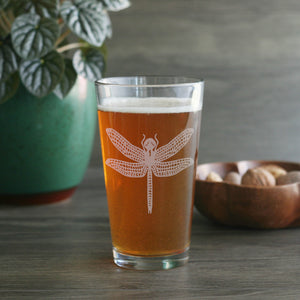 Dragonfly beer glassware by Bread and Badger