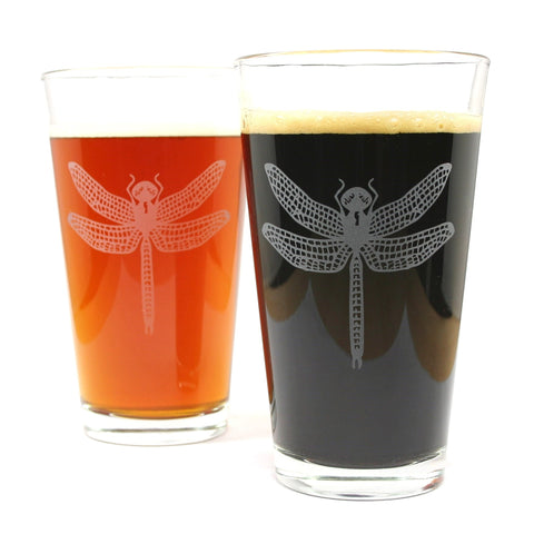 2 dragonfly etched beer glasses