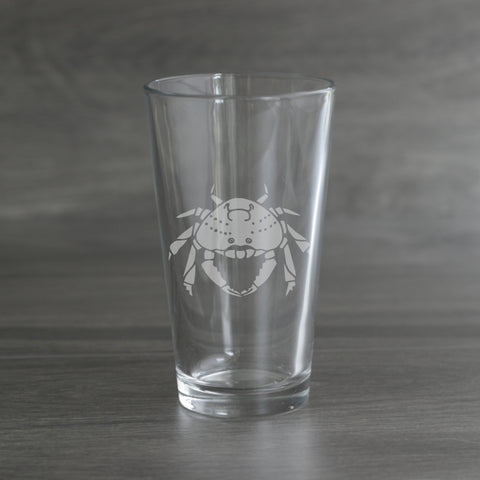 Dungeness Crab etched pint glass by Bread and Badger