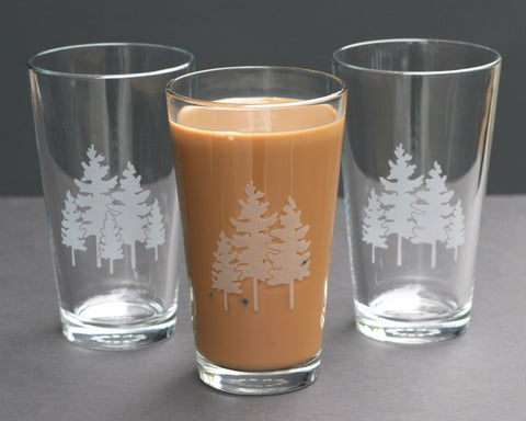 family trees pint glasses by Bread and Badger