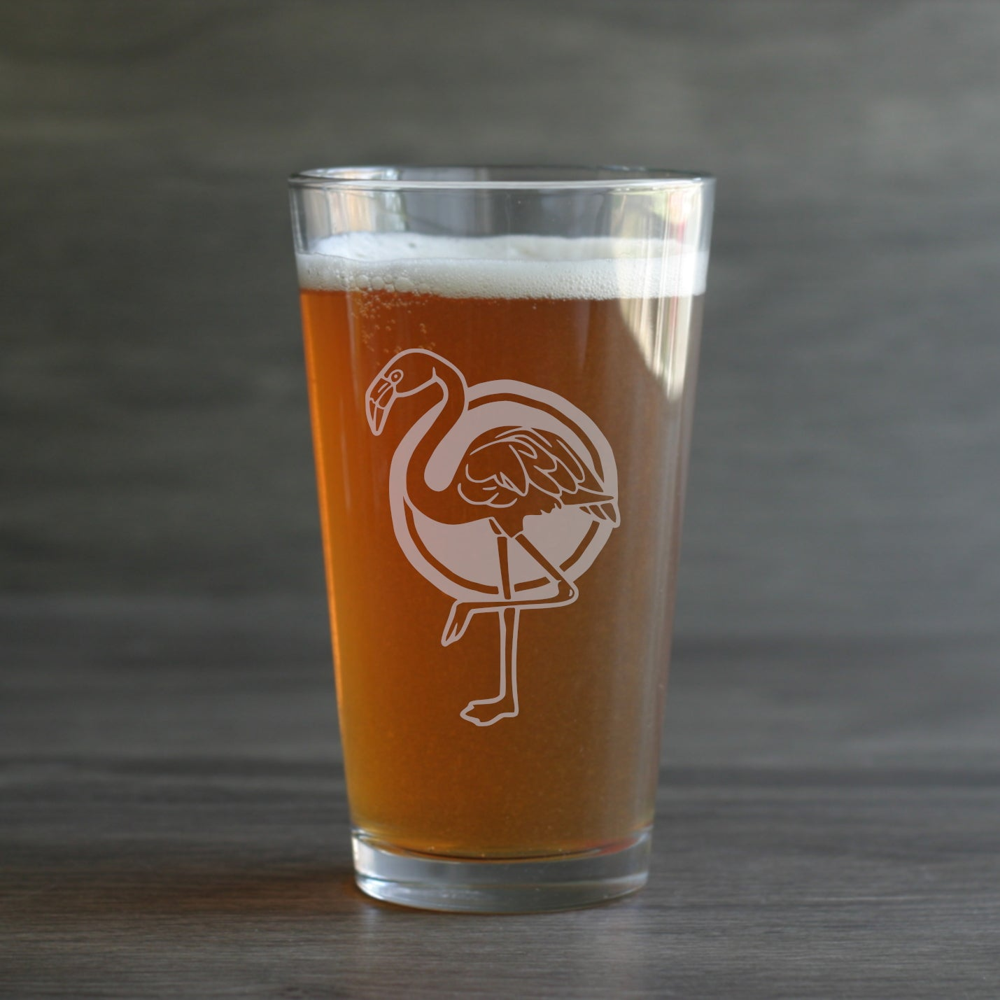 Flamingo pint glass by Bread and Badger