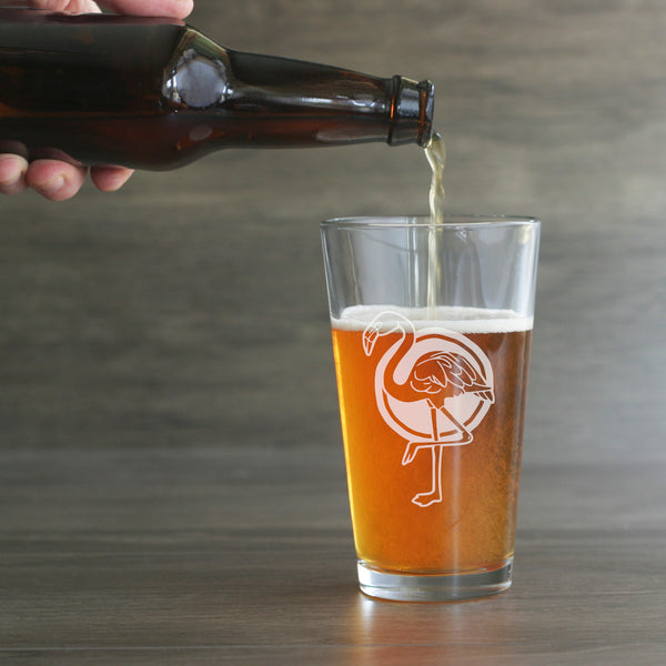 Flamingo beer glass by Bread and Badger