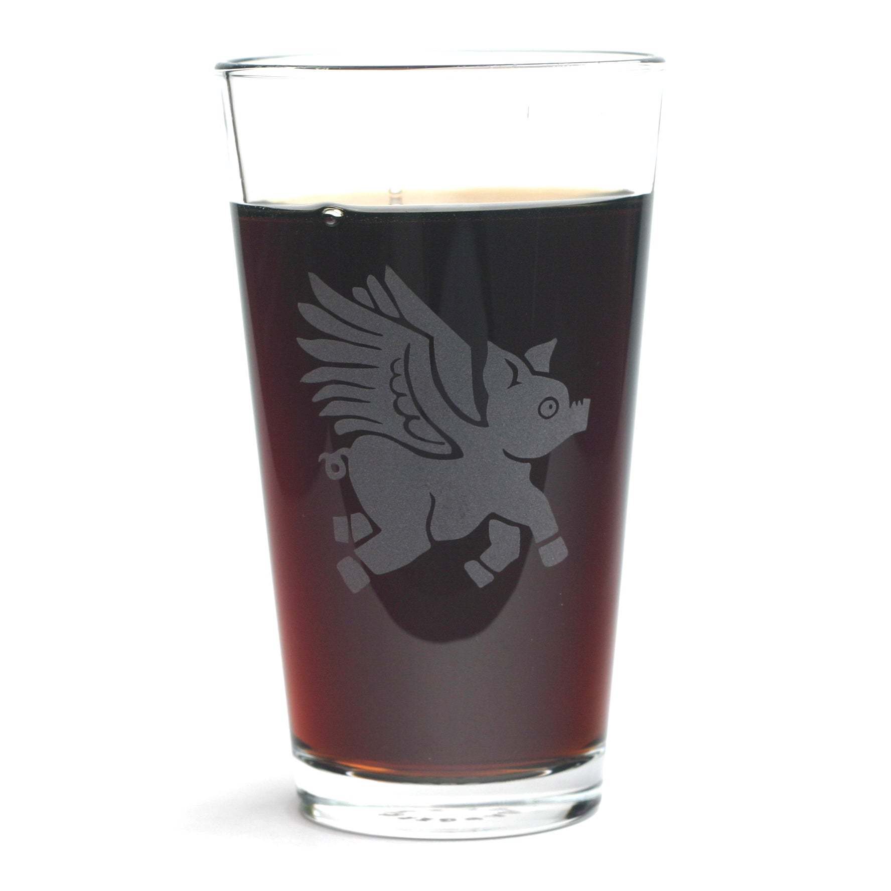 Flying Pig pint glass by Bread and Badger
