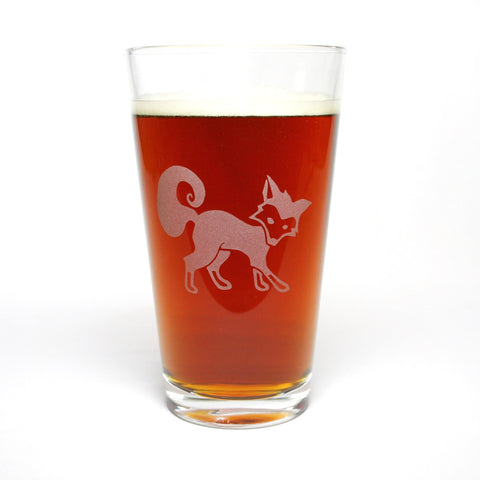 Fox beer pint glass