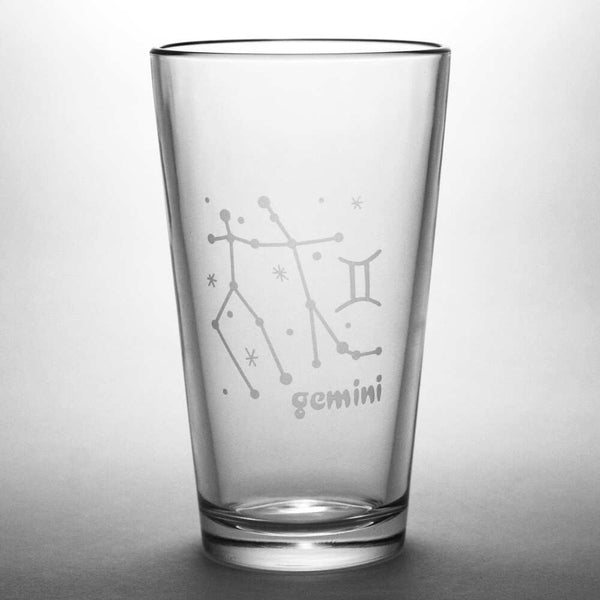 Gemini constellation pint glass by Bread and Badger